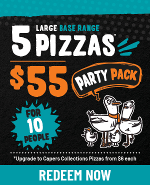 5 Base Range Pizzas for $55
